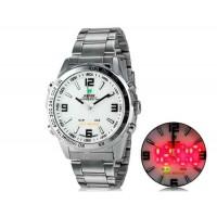 WIDE 1009 Аналоговый и Цифровой дисплей  30 м Водонепроницаемые светодиодные спортивные часы с браслетом (белый)
