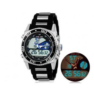 WEIDE 2316 Аналоговый и Цифровой циферблат 30 м Водонепроницаемые светодиодные спортивные часы с нержавеющим стальным браслетом (синий)
