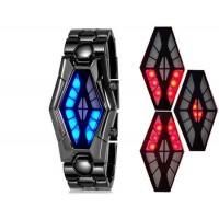 Мужские светодиодные часы с нержавеющим браслетом (черный)