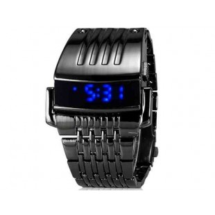 Модные светодиодные часы с нержавеющей стали ремешком (Черный)