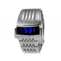 Модные светодиодные часы с нержавеющей стали ремешком (серебро)