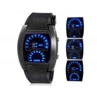 Дизайнерский циферблат LED спортивные часы с резиновым ремешком (черный) М.