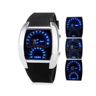 LED спортивные светодиодные часы с дисплеем виде спидометра и приборной доски автомобиля