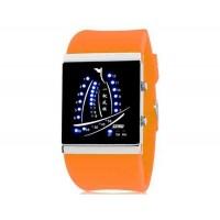 SKMEI 1001  30M водонепроницаемые светодиодные электронные Спортивные часы с календарем и ночной функцией (оранжевый)