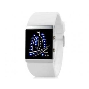 SKMEI 1001  30M водонепроницаемые светодиодные электронные Спортивные часы с календарем и ночной функцией (белый)