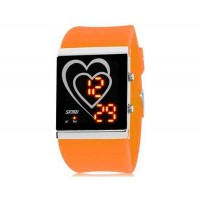 SKMEI 1001 30M водонепроницаемые светодиодные Спортивные часы с календарем (оранжевый)