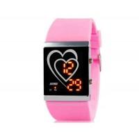 SKMEI 1001 30M водонепроницаемые светодиодные Спортивные часы с календарем (розовый)