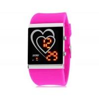 SKMEI 1001 30M водонепроницаемые светодиодные Спортивные часы с календарем (Rose Red)