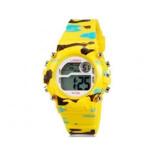 LASIKA W-F54  электронные часы с календарем, будильником и подсветкой дисплея (желтый)