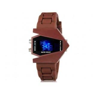 Творческие истребитель малышей конструкции Женская LED электронные наручные часы с календарем и ночник функции (кофе)