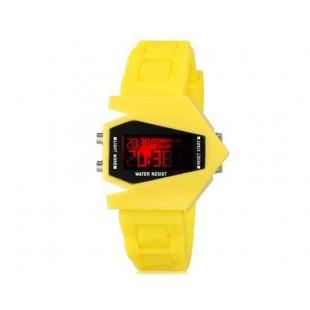 Творческие истребитель малышей конструкции Женская LED электронные наручные часы с календарем и ночник функции (желтый)