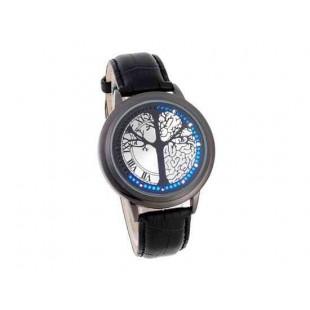 Дисплей сенсорный диск  светодиодные часы (черный)
