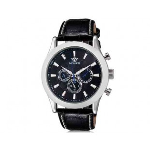 OUYAWEI Unisex Водонепроницаемые Автоматические Механические часы  кожаный ремешок (черный)