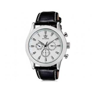 OUYAWEI  Водонепроницаемые Автоматические Механические часы - кожаный ремешок (белый)