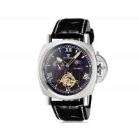 OUYAWEI 1230 автоматические механические часы с кожаным ремешком (черный)