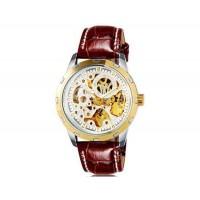 OUYAWEI 1402 автоматические механические часы  кожаный ремешок (белый)