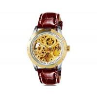 OUYAWEI 1402  Автоматические механические часы с кожаным ремешком (золото)