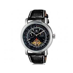 OUYAWEI 1030 механические часы  кожаный ремешок (черный)