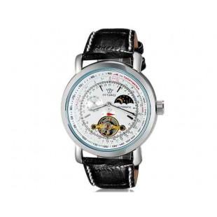 OUYAWEI 1030 механические часы  кожаный ремешок (белый)