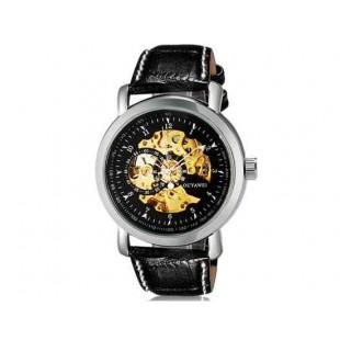 OUYAWEI 1306 автоматические механические часы кожаный ремешок (черный)