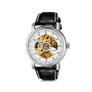 OUYAWEI 1306  автоматические механические часы  кожаный ремешок (белый)