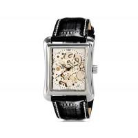 OUYAWEI 1222  квадратный циферблат автоматические механические часы с м. кожаным ремешком (серебро)
