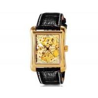 Купить OUYAWEI 1222 автоматические механические часы с кожаным ремешком (Gold)