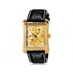 OUYAWEI 1222 автоматические механические часы с кожаным ремешком (Gold)