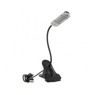 HK-3015C 7 Гибкая  металлическая подставка USB Настольная лампа с зажимом для ПК  иноутбука (черный)