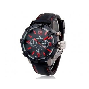 V0045 Мужские спортивные наручные часы с металлическим корпусом (черные и красные)