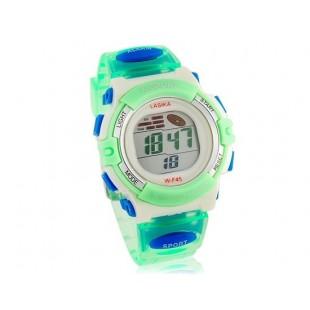 Круглый циферблат Водонепроницаемые цифровые электронные часы с пластиковым ремешком (зеленые)