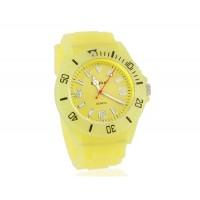 Светящиеся в темноте Круглый циферблат аналоговые часы (желтые)