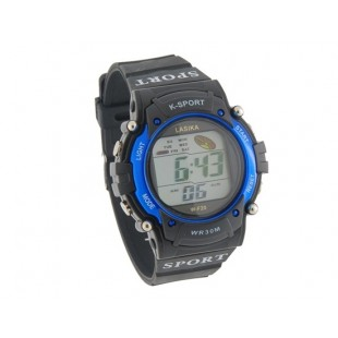 Круглый циферблат Спорт цифровые часы с пластиковым ремешком (черные)