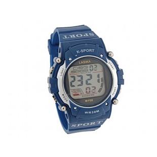 Круглый циферблат Спорт цифровые часы с пластиковым ремешком (синие)