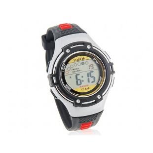 Круглый циферблат цифровые часы с пластиковым ремешком (черные)