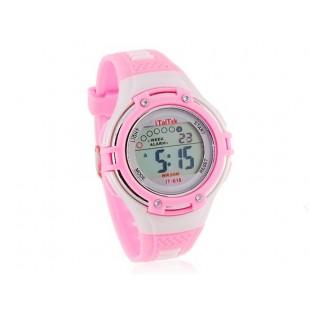 Круглый циферблат цифровые часы с пластиковым ремешком (розовый)