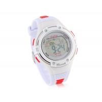 Купить Круглый циферблат цифровые часы с пластиковым ремешком (белые)