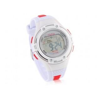 Круглый циферблат цифровые часы с пластиковым ремешком (белые)