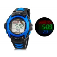 Водонепроницаемые цифровые часы с пластиковым ремешком (синие)