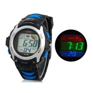 водонепроницаемые цифровые часы с пластиковым ремешком (серебро)