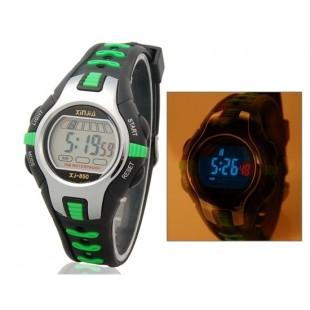 Водонепроницаемые кварцевые электронные часы с пластиковым ремешком (зеленые)