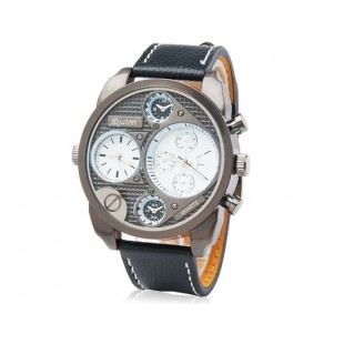 Двойные кварцевые аналоговые Спортивные часы с кожаным ремешок (белые)