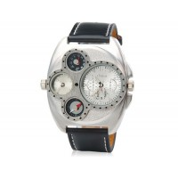 Кварцевые аналоговые спортивные часы с термометром и компасом (черные)