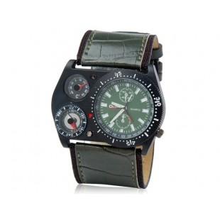 кварцевые аналоговые Спортивные часы — компас - термометр (темно-зеленые)