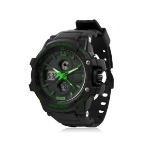 Skmei 0990 3ATM водонепроницаемые  спортивные часы с мягкого пластика ремешком (черные + зеленые)