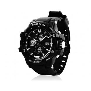 Skmei 0990 3ATM водонепроницаемые цифровые и аналоговые спортивные часы (черные + белые)