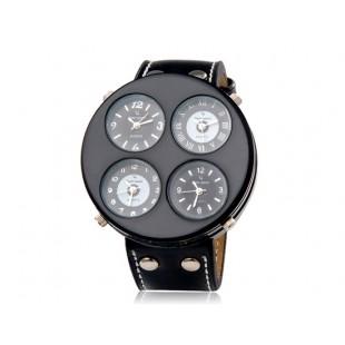 мужские 4 шт кварцевые аналоговые часы  (черные)