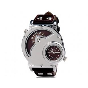 OULM 9591 мужские Часы с GMT Двойной дисплей (коричневые)