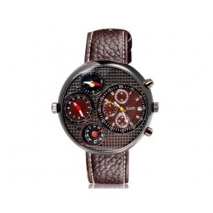 OULM 9310 мужские механические часы с двойным дисплеем GMT время, термометр и компас (коричневые)