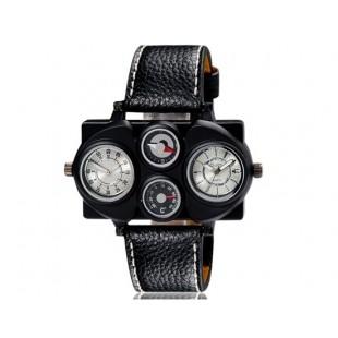 OULM 1168 мужские Dual-спортивное движение механические часы с двойным дисплеем GMT время, термометр и компас (белые)